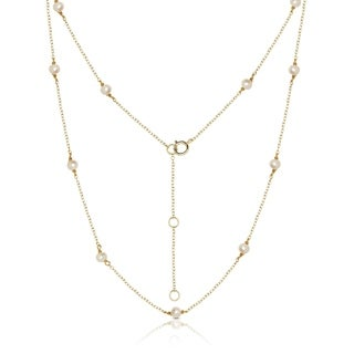 """Sterling Silver 3mm Freshwater Cultured Pearl Tin-cup Station Necklace (3 colors) (16 """"+ 2"""")"""