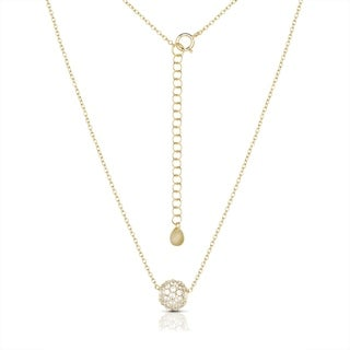 """Sterling Silver Cubic Zirconia Glitter-ball Barrel Solitaire Necklace (2 colors) (16 """"+ 2"""")"""