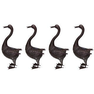 Four Hammer Tone Bronze 24 inch Steel Outdoor Animal Garden Duck Metal Sculpture Statue with Solar Light and Ground Stake