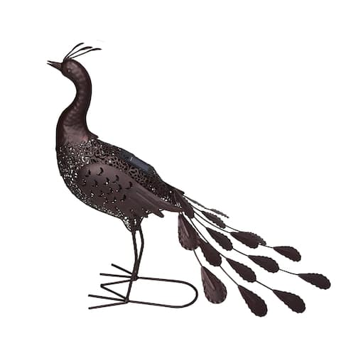 Hammer Tone Bronze 22 inch Steel Outdoor Animal Garden Peacock Metal Sculpture Statue with Solar Light and Ground Stake
