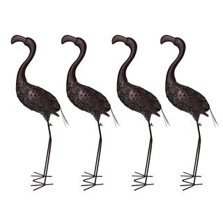 Four Hammer Tone Bronze 40 inch Steel Outdoor Animal Garden Flamingo Metal Sculpture Statue with Solar Light and Ground Stake