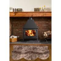 Dynasty Natural 3-Pelt Luxury Long Wool Sheepskin Paco Brown Shag Rug - 3' x 4'6