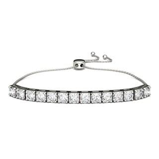 Charles & Colvard Sterling Silver 4 1/2ct DEW Forever Classic Moissanite Bolo Line Bracelet