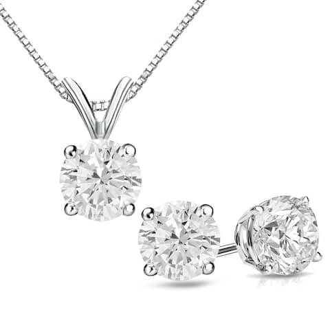 Auriya 14k Gold 1 1/6ct TDW Clarity-Enhanced Diamond Stud Earrings and Solitaire Diamond Necklace Set