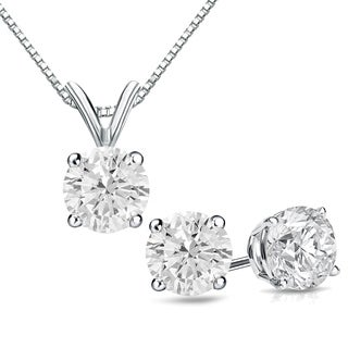 Auriya 14k Gold 1 1/6ct TDW Round Clarity-Enhanced Diamond Necklace and Earring Set