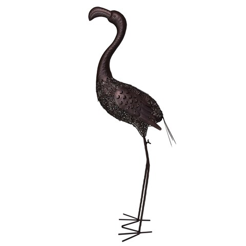 Hammer Tone Bronze 40 inch Steel Outdoor Animal Garden Flamingo Metal Sculpture Statue with Solar Light and Ground Stake
