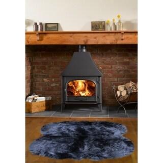 Dynasty Natural Black Luxury Long Wool Sheepskin 4-pelt Shag Rug (3'6 x 5'6)