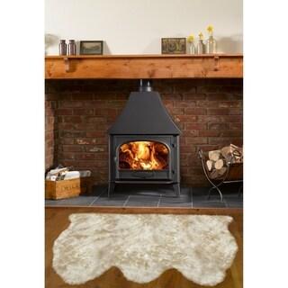 Dynasty Natural Luxury Light Beige Long Wool Sheepskin 3-pelt Shag Rug (3' x 4'6)