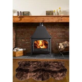 Dynasty Natural Luxury Dark Brown Long Wool Sheepskin 3-pelt Shag Rug (3' x 4'6)