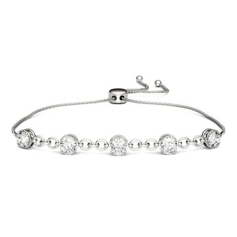 Charles & Colvard Sterling Silver 1 3/5ct DEW Forever Classic Moissanite Bolo Bracelet