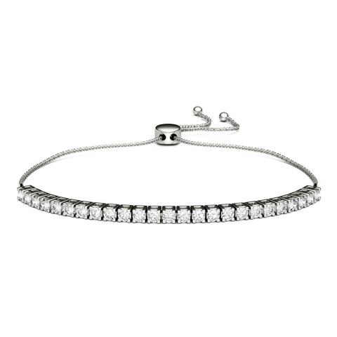 Charles & Colvard Sterling Silver 1 1/2ct DEW Forever Classic Moissanite Bolo Line Bracelet