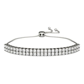 Charles & Colvard Sterling Silver 3ct DEW Forever Classic Moissanite Two Row Bolo Line Bracelet