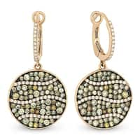 ICED SHOWROOM 14K Rose Gold Multi-Colored Diamonds Hammered Coin Shaped Dangle Earrings - White