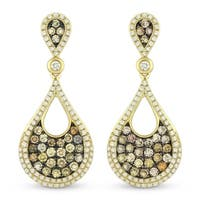 Iced Showroom 14K Yellow Gold Multi-Colored Diamond Pave Pear Shaped Dangle Earrings - White