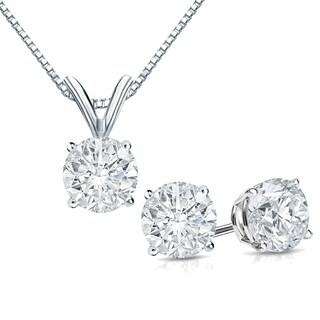 Auriya 14k Gold 1 1/6ct TDW Round Clarity-Enhanced Diamond Necklace and Earring Set