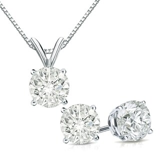 Auriya 14k Gold 1 1/6ct TDW Clarity-Enhanced Diamond Stud Earrings and Solitaire Diamond Necklace Set - White