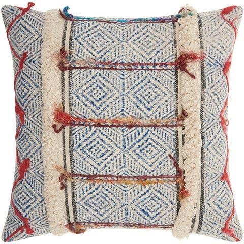 Mina Victory Life Styles Multicolor Diamonds Stonewash Throw Pillow (20-Inch X 20-Inch)