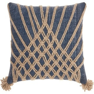 Mina Victory Bohemian Knotted Multicolor Throw Pillow (1'8 x 1'8)