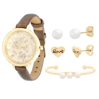 GD Fortune NYC Women's PRL&FLWR LTHR WATCH&BNGL/EAR SET
