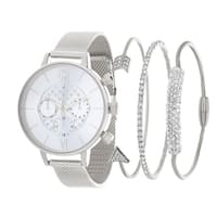 SILVER  Fortune NYC Women's WATCH AND BANGLE SET
