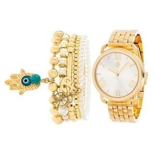 GOLD Fortune NYC Women's PEARL BEAD BRACELET/WATCH SET