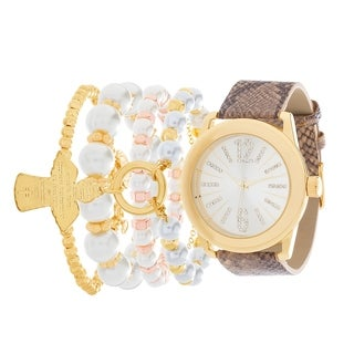 GOLD Fortune NYC Women's WATCH AND PEARL BRACELET SET