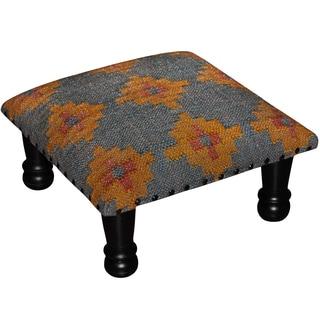 Handmade Herat Oriental Tribal Kilim Upholstered Footstool