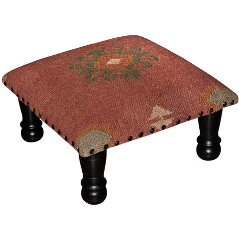 "Handmade Tribal Kilim Ottoman Footstool (India) - 15"" x 15"" x 7"""