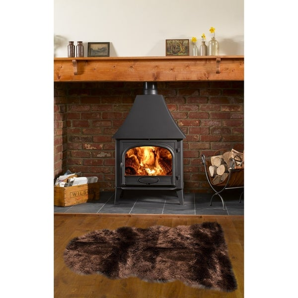 Dynasty Natural 1-1/2 Pelt Luxury Long Wool Sheepskin Dark Brown Shag Rug - 2' x 4'