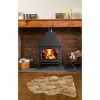 Dynasty Natural Single Pelt Luxury Long Wool Sheepskin White with Brown Tips Shag Rug - 2' x 3'