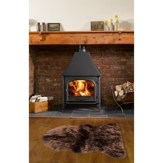 Dynasty Natural Single Pelt Luxury Long Wool Sheepskin Dark Brown Shag Rug - 2' x 3'