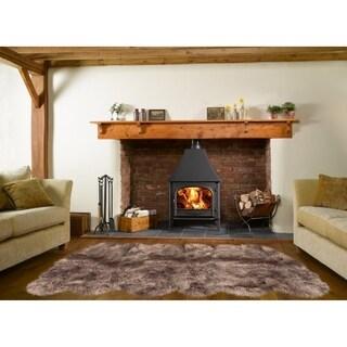 Dynasty Natural 12-Pelt Luxury Long Wool Sheepskin Paco Brown Shag Rug - 5'5 x 9'2