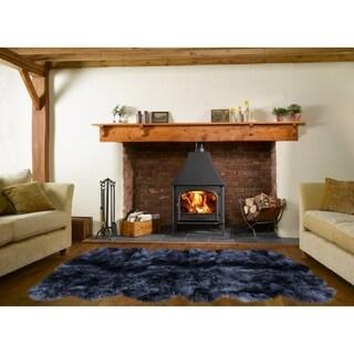 Dynasty 12-Pelt Luxury Long Wool Sheepskin Black Shag Rug - 5'5 x 9'2