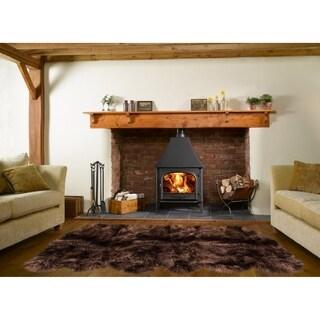 Dynasty Natural 12-Pelt Luxury Long Wool Sheepskin Dark Brown Shag Rug - 5'5 x 9'2