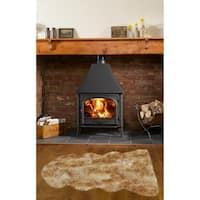 Dynasty Natural 1-1/2 Pelt Luxury Long Wool Sheepskin White with Brown Tips Shag Rug - 2' x 4'