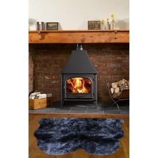 Dynasty Natural 2-Pelt Luxury Long Wool Sheepskin Black Shag Rug - 3' x 3'6