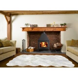 Dynasty Natural 12-Pelt Luxury Long Wool Sheepskin Off White Shag Rug - 5'5 x 9'2