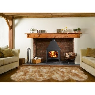 Dynasty Natural 4-Pelt Luxury Long Wool Sheepskin White with Brown Tips Shag Rug - 3' x 6'8