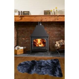 Dynasty Natural 1-1/2 Pelt Luxury Long Wool Sheepskin Black Shag Rug - 2' x 4'