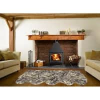 Dynasty Natural 5-Pelt Luxury Long Wool Sheepskin White with Black Tips Shag Rug - 3' x 8'6
