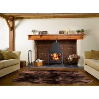 Dynasty Natural 6-Pelt Luxury Long Wool Sheepskin Dark Brown Shag Rug - 5' x 5'5