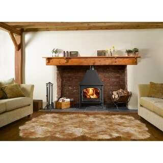 Dynasty Natural 8-Pelt Luxury Long Wool Sheepskin White with Brown Tips Shag Rug - 5'5 x 6'8
