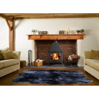 Dynasty Natural 6-Pelt Luxury Long Wool Sheepskin Black Shag Rug - 5' x 5'5