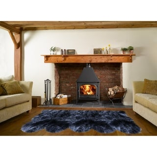 Dynasty Natural 5-Pelt Luxury Long Wool Sheepskin Black Shag Rug - 3' x 8'6