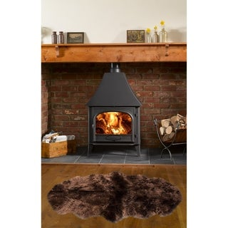 Dynasty Natural 2-Pelt Luxury Long Wool Sheepskin Dark Brown Shag Rug - 2'x 5'5
