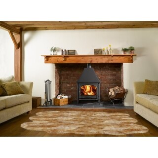Dynasty Natural 6-Pelt Luxury Long Wool Sheepskin White with Brown Tips Shag Rug - 5' x 5'5
