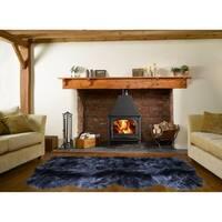 Dynasty Natural 4-Pelt Luxury Long Wool Sheepskin Black Shag Rug - 3' x 6'8