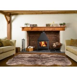 Dynasty Natural 8-Pelt Luxury Long Wool Sheepskin Paco Brown Shag Rug - 5'5 x 6'8