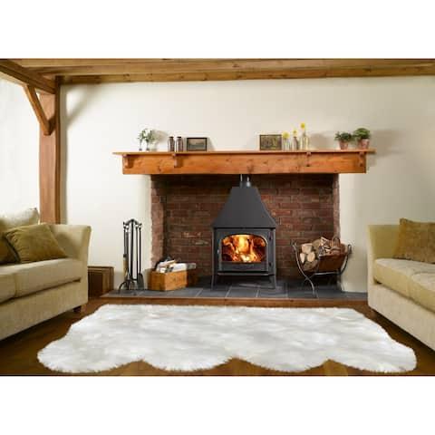 "Dynasty Natural 4-Pelt Luxury Long Wool Sheepskin Off White Shag Rug - 3' x 6'8"""