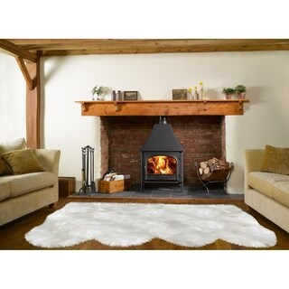 Dynasty Natural 4-Pelt Luxury Long Wool Sheepskin Off White Shag Rug - 3' x 6'8